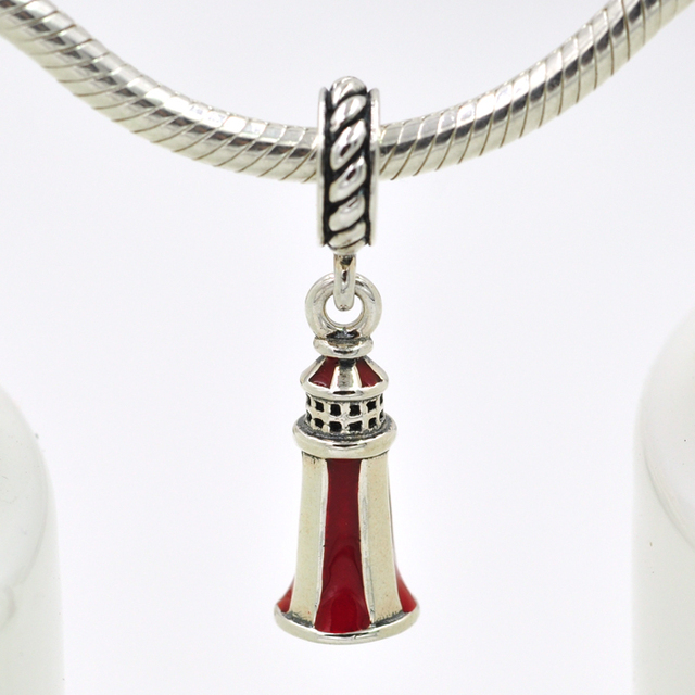Authentic 925 Sterling Silver Enamel Sailing Lighthouse Charm Pendant Fits Pandora Charms Bracelet Necklace Diy Jewelry
