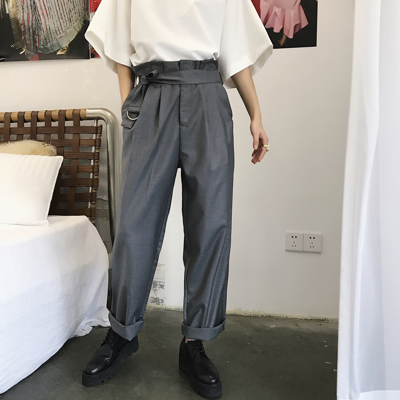 Vintage Style Loose Wide Pants Men 2018 Summer Designer Exquisite High Waist Fold Sashes Thin Western-style Trousers Male M-2XL