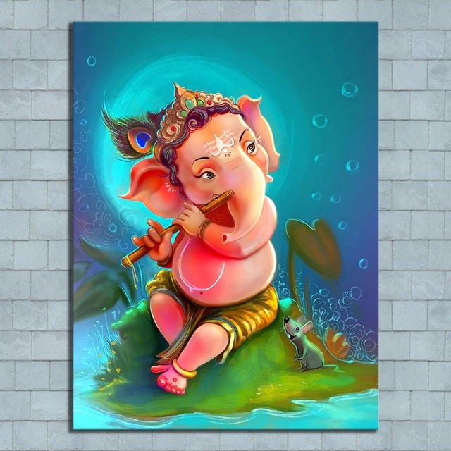 Us 10 94 49 Off Hd Picture Print Cartoon Kid Ganesha Artwork Drawing Painting On Canvas Wall Art For Home Decor In Wall Stickers From Home Garden
