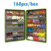 168pcs Wet Dry Fly Fishing Flies Lure Set Fly Tying Material Wet hand tied Nymph Flies for Trout Pike