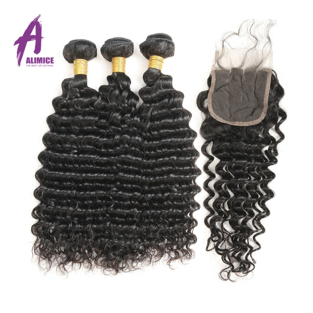 Alimice Hair Malaysia Deep Wave Bundles With Closure Human Hair Malaysia Hair Weave 3 Bundles With