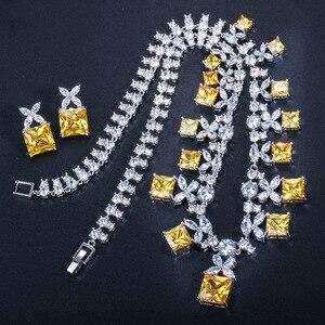 Image 5 - CWWZircons מדהים נסיכה לחתוך צהוב מעוקב Zirconia אבן נשים מסיבת חתונת תלבושות שרשרת תכשיטים עבור כלות T351