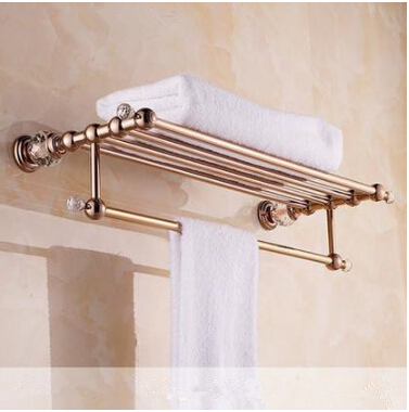 Crystal Wall Mounted Rose Golden Towel Holder Brass Finish Bathroom Accessories Towel Racks Towel Shelf free shipping wall mounted space aluminum black golden paper towel shelf phone toilet paper holder
