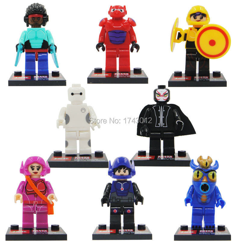 Super Heroes Big Hero 6  Baymax Hiro Hamada 8pcs/lot Building Blocks Sets Model Bricks Toys  Lepin toys for children 8pcs lot movie super hero 2 avenger aochuang era kid baby toy figure building blocks sets model toys compatible with lego