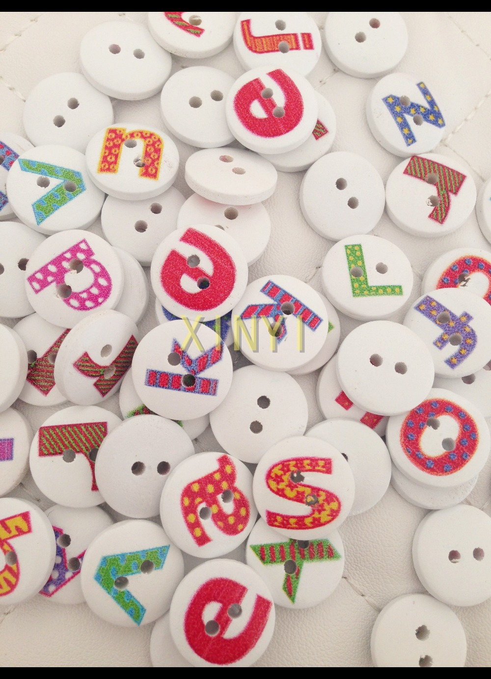 200pcs 15mm lovely cartoon multicolor 26 letters painted pattern wooden bead diy craft home decorative kids toys