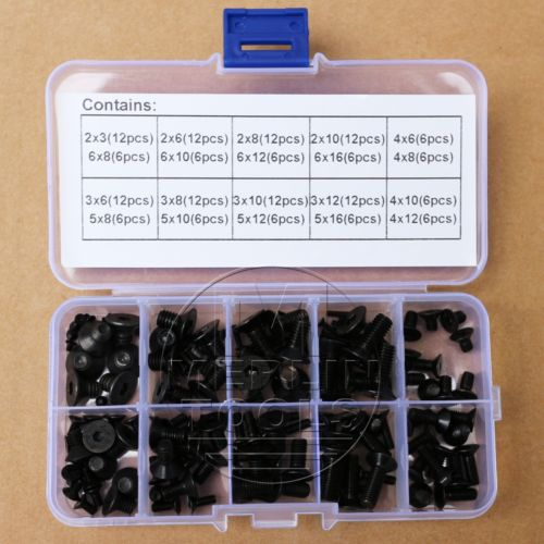 M2 M3 M4 M5 M6 Allen Flat Head Socket Cap Screws Assortment Kit 200pcs 304ss m3 m4 m5 m6 cone point allen head hex socket screws assortment kit