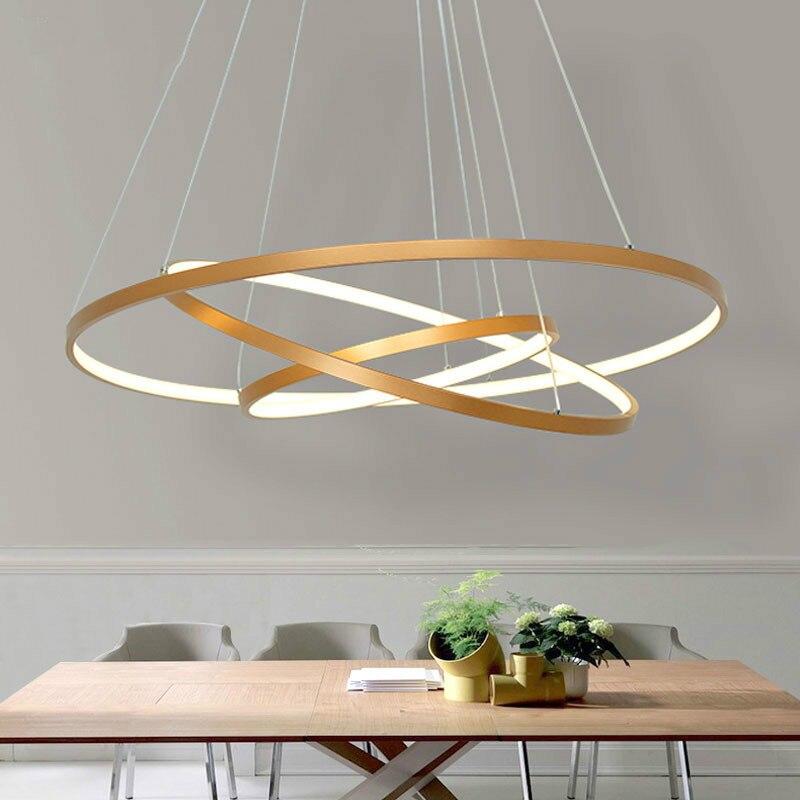 Gold Schwarz Led Decke Licht Hängen lampe Kreis Ringe Led-deckenleuchte Für wohnzimmer esszimmer Schlafzimmer Home Beleuchtung leuchten