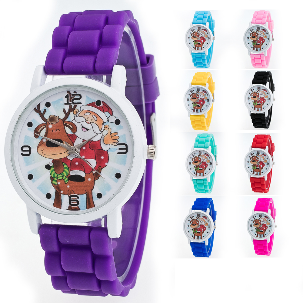 Children Christmas Watches Santa Claus Pattern Kids Quartz ...