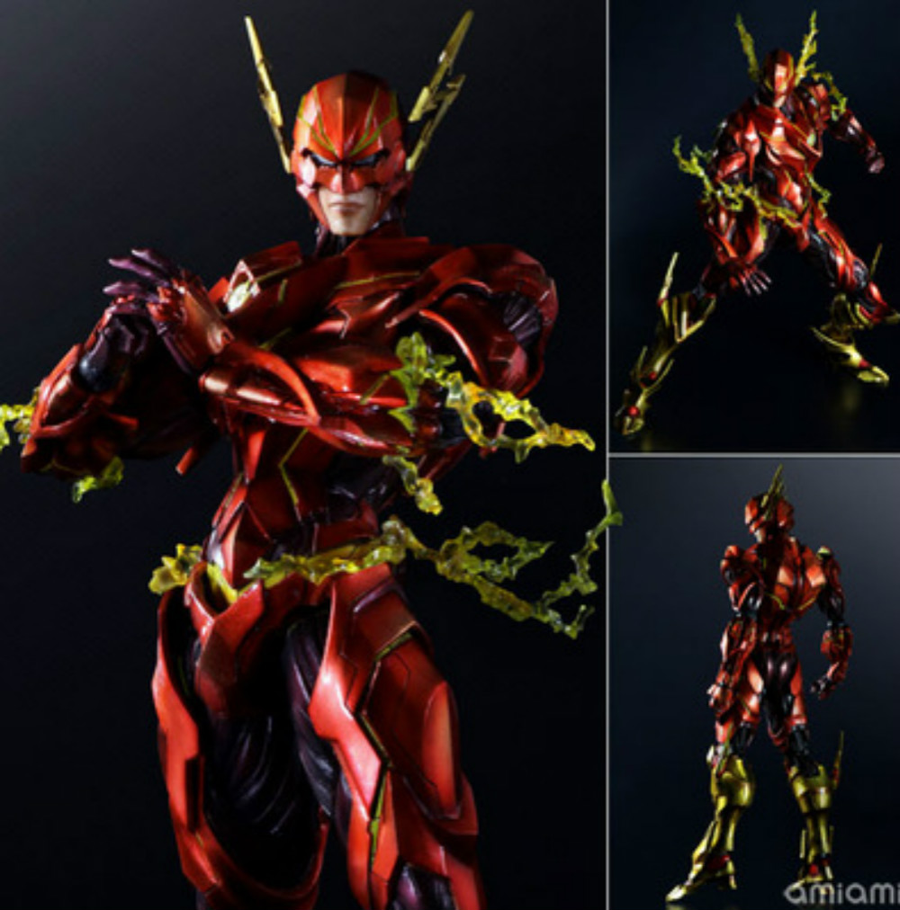 the Flash Action Figure Play Arts Kai Justice League Barry Allen PVC Toy 25cm Anime Movie Model The Flash Playarts Kai Superhero