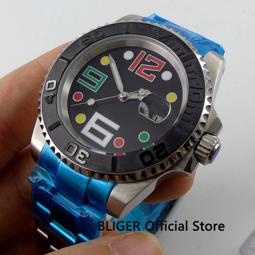 Sapphire Glass BLIGER 40mm Black Sterile Dial Men's Watch Luminous Pointer Date Magnifier Miyota Automatic Movement Wristwatch