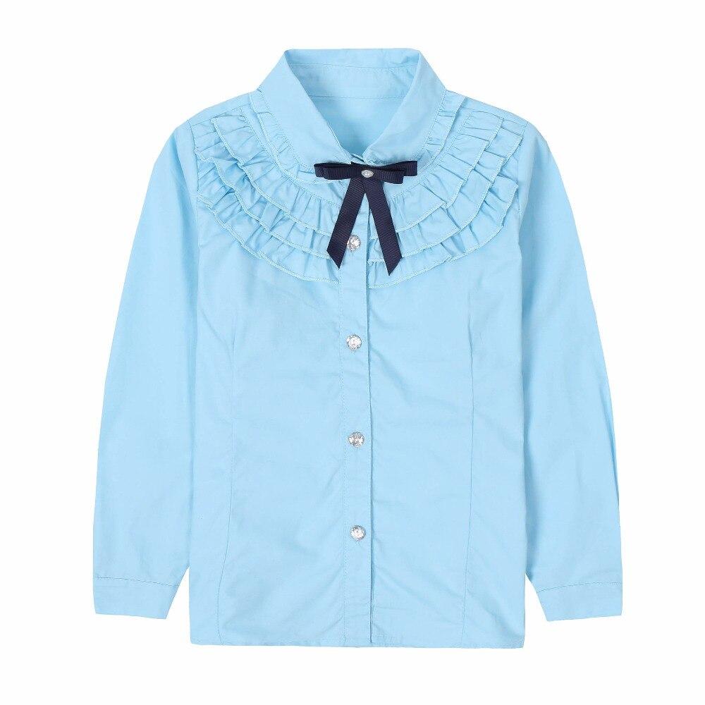 654b7771e Camisas blancas de estudiantes para niñas uniformes escolares de algodón  blusas de cuello vuelto ...