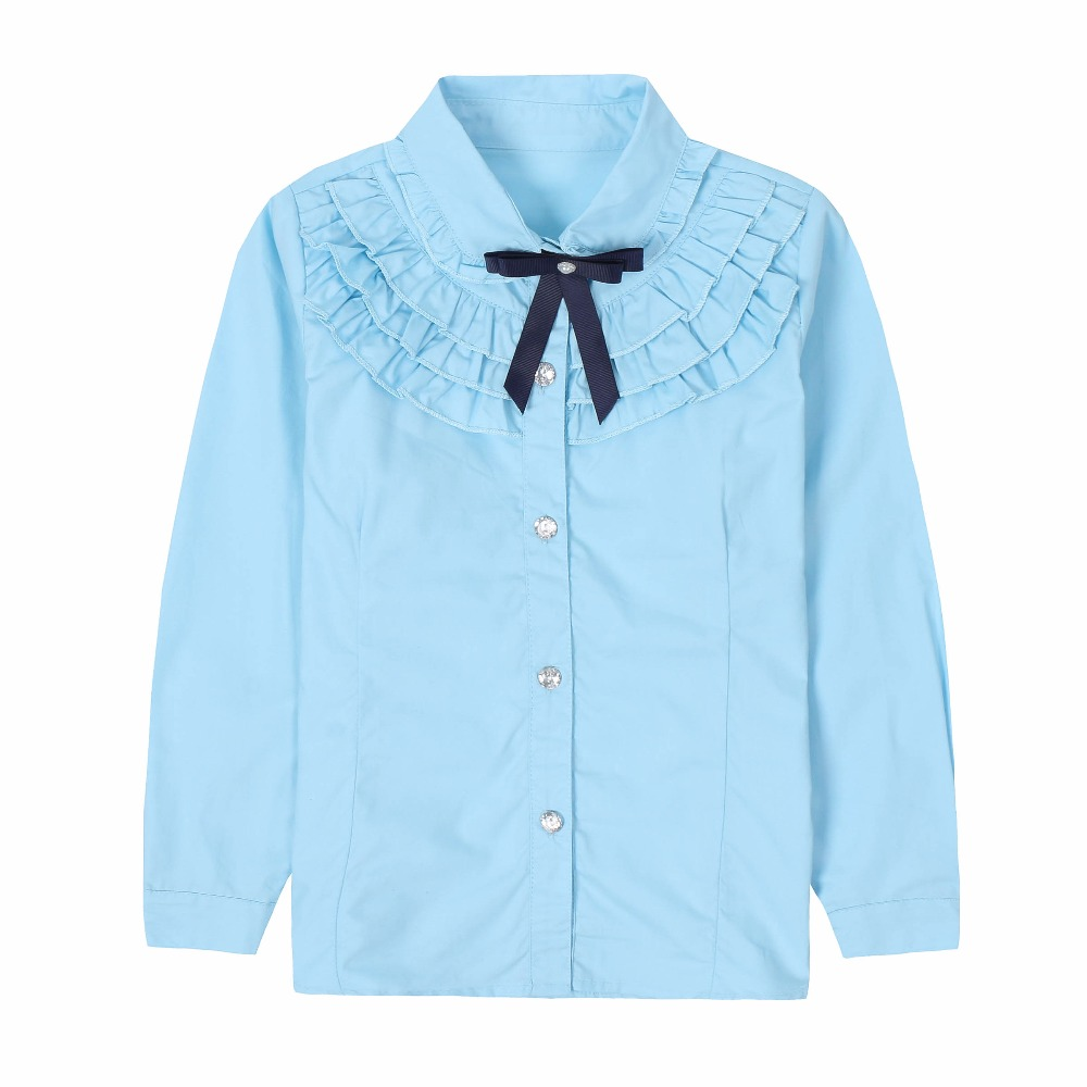 Students White   Shirts   For Girls School Uniforms Cotton Turn-Down Collar   Blouses   Girls Tops Autumn Teenage Clothes 2 6 8 10 12 14