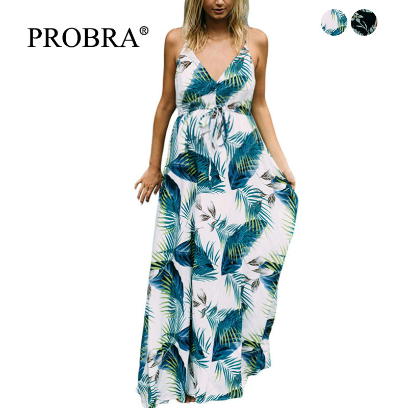 Women Dress - Summer Long Pregnancy Dresses Tropical Style Plus Size Beach Sling Sexy Print Maternity Spring Clothes Vetement XL