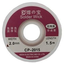 лучшая цена Brand New 2Pcs 2.0MM Solder Wick Remover Desoldering Braid Wire Sucker Cable Fluxed Flux