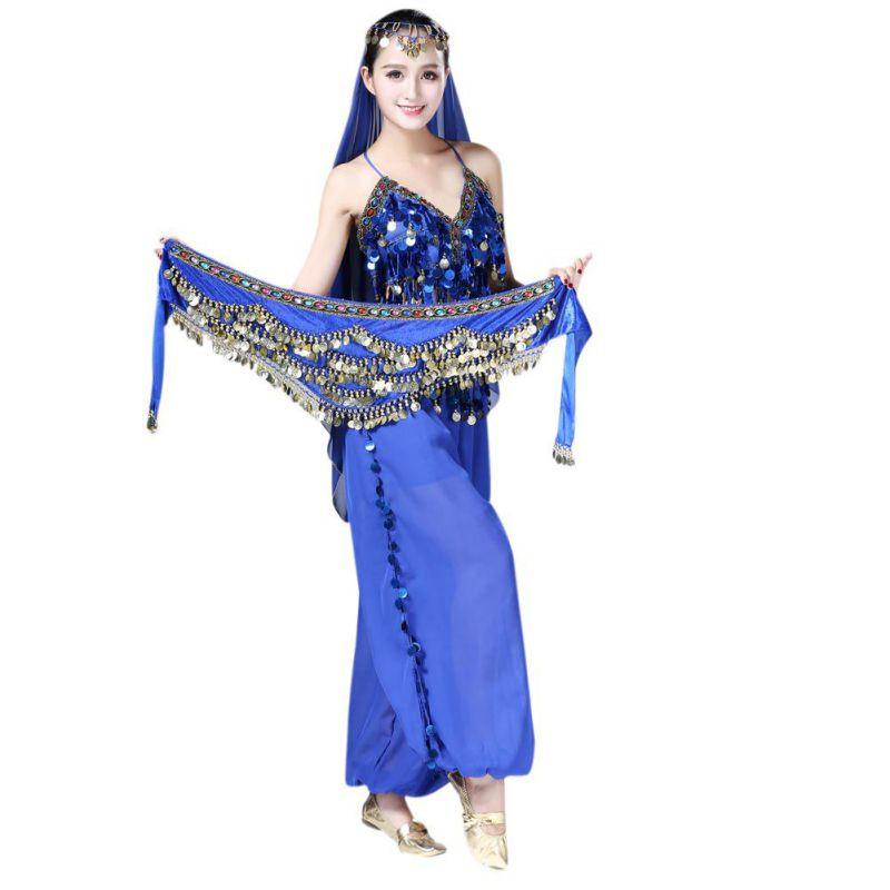 New Style Coins Belly Dance Waist Chain Hip Scarf Bellydance Belt Hip Scarf Velvet Gypsy Wings