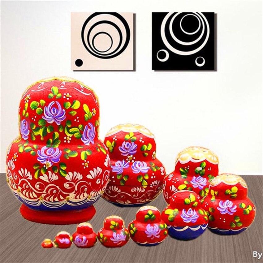 10 couches peintes à la main sculpture russe en bois nidification poupées Top Grade 10 pièces bricolage Basswood mode matriochka poupées bricolage jouets L30 - 2