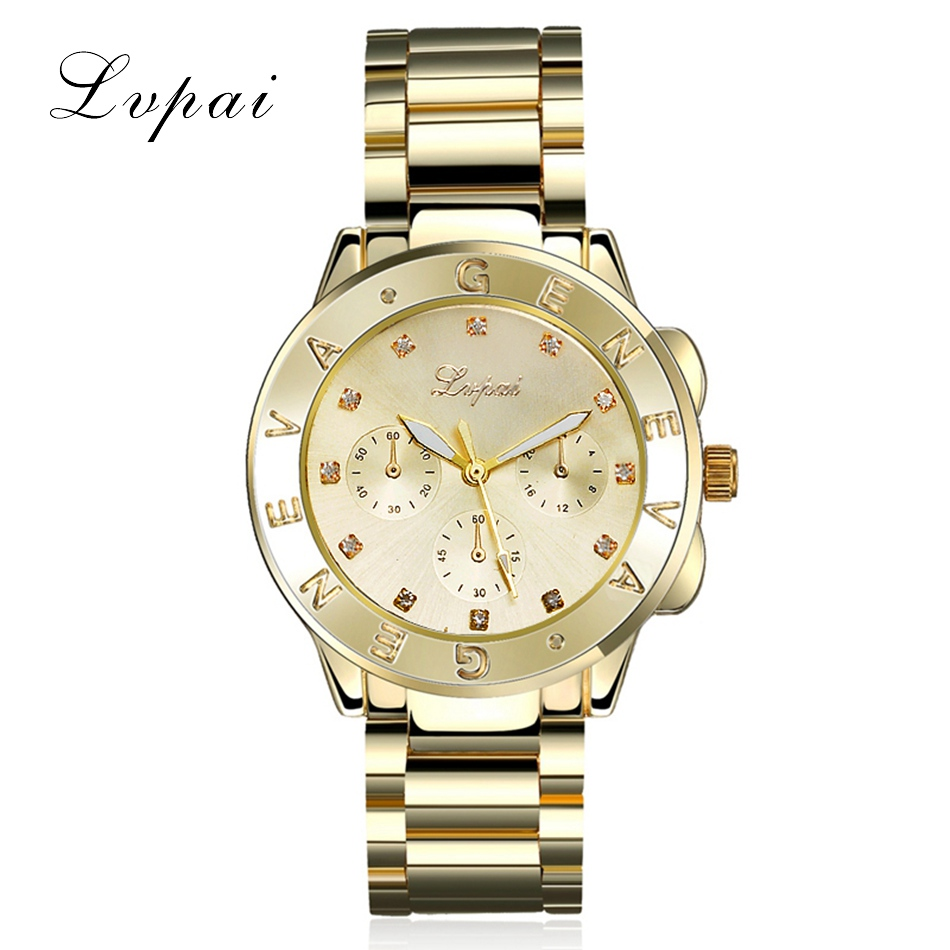 Lvpai Brand Watch Women Gold Stainless Steel Dress Luxury Wristwatch Fashion Female Ladies Business Bracelet Quartz Watch XR880 onlyou luxury brand fashion watch women men business quartz watch stainless steel lovers wristwatches ladies dress watch 6903