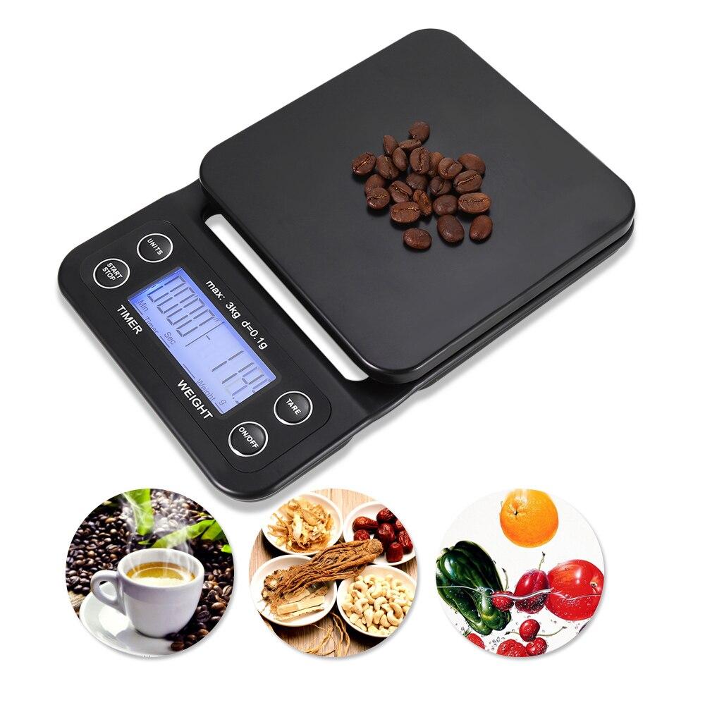 Nauwkeurig 3 Kg/0.1g Digitale Keukenweegschaal Voedsel Koffie Wegen Digitale Timer Met Back-lit Lcd Display Voor Bakken Koken Meetinstrumenten