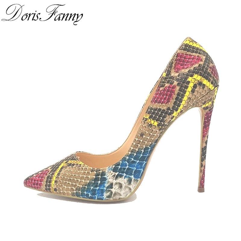 DorisFanny/африканские женские туфли со змеиным принтом и сумочка в комплекте; туфли лодочки на высоком каблуке 12 см - 2