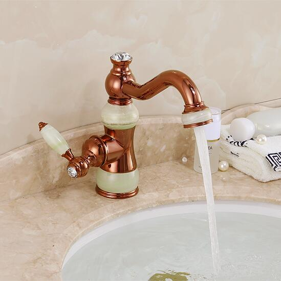 New jade and brass faucet rose gold finished bathroom basin faucet,Luxury sink tap basin mixer High Quality water tap 2017 new arrival fashion high quality brass material gold rose gold finished bathroom sink faucet basin faucet tap mixer