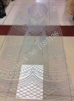 2017 beautiful flower style silver lace fabric for African embroidery Nigeria special wedding dress / evening dress fabric