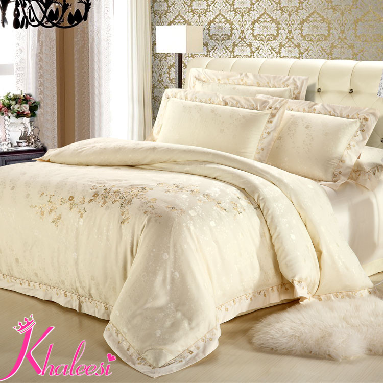 Luxury Satin Bedding Sets Silver Ivory White Jacquard Satin Cotton ... : ivory quilt set - Adamdwight.com