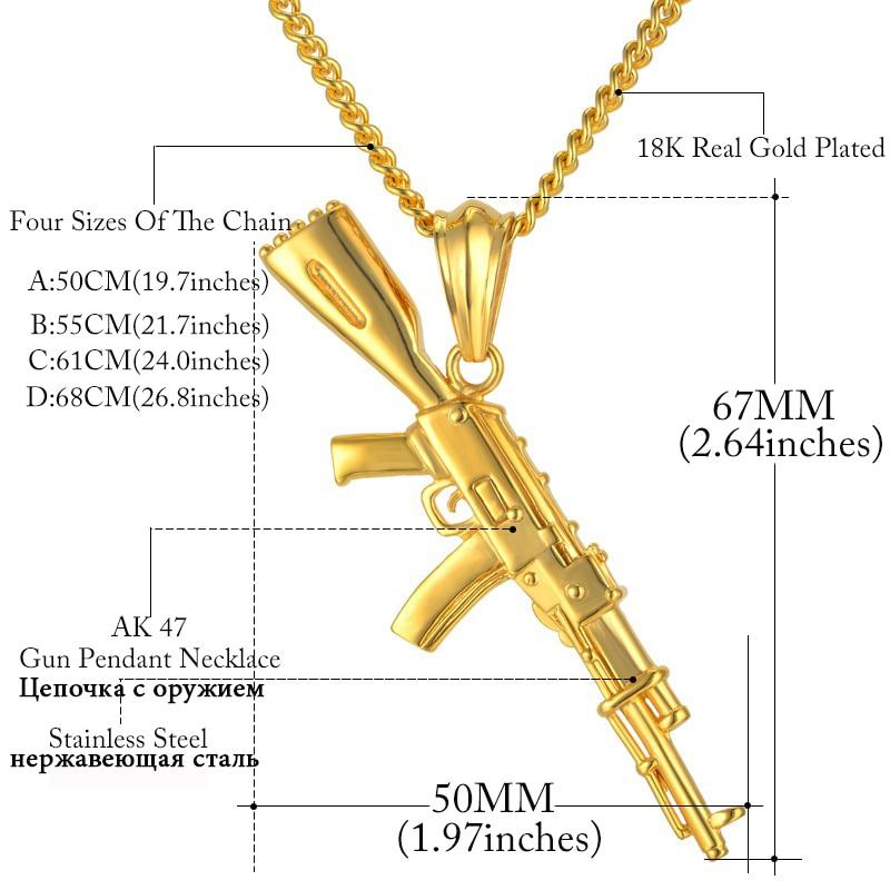 Hiphop Punk Gun κολιέ κρεμαστό κόσμημα - Κοσμήματα μόδας - Φωτογραφία 2