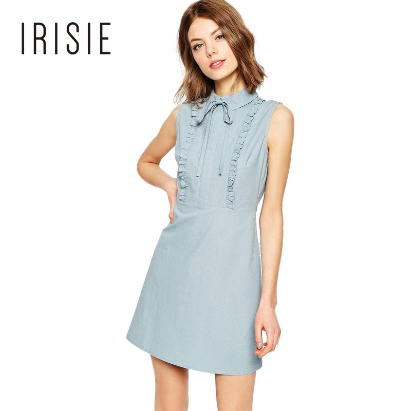 IRISIE Apparel Blue Sleeveless Sweet Chic Female Vestidos Sexy Ruffle Casual Slim Women Dress Bow Frill Drape Basic Mini Dress
