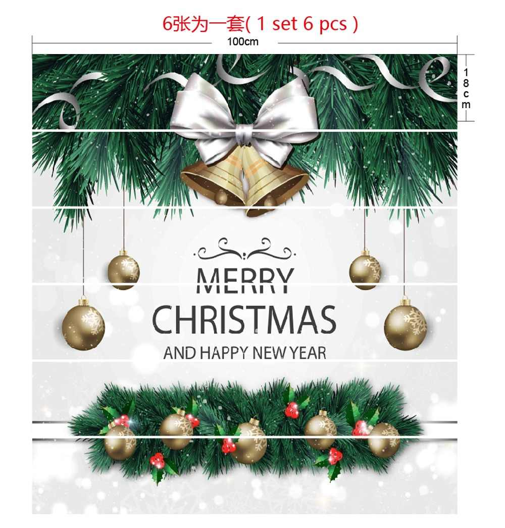 6pcs/set 18cm x 100cm Golden Bells Merry Christmas and Happy New Year Pattern Style Stair Sticker Art Poster LTT077