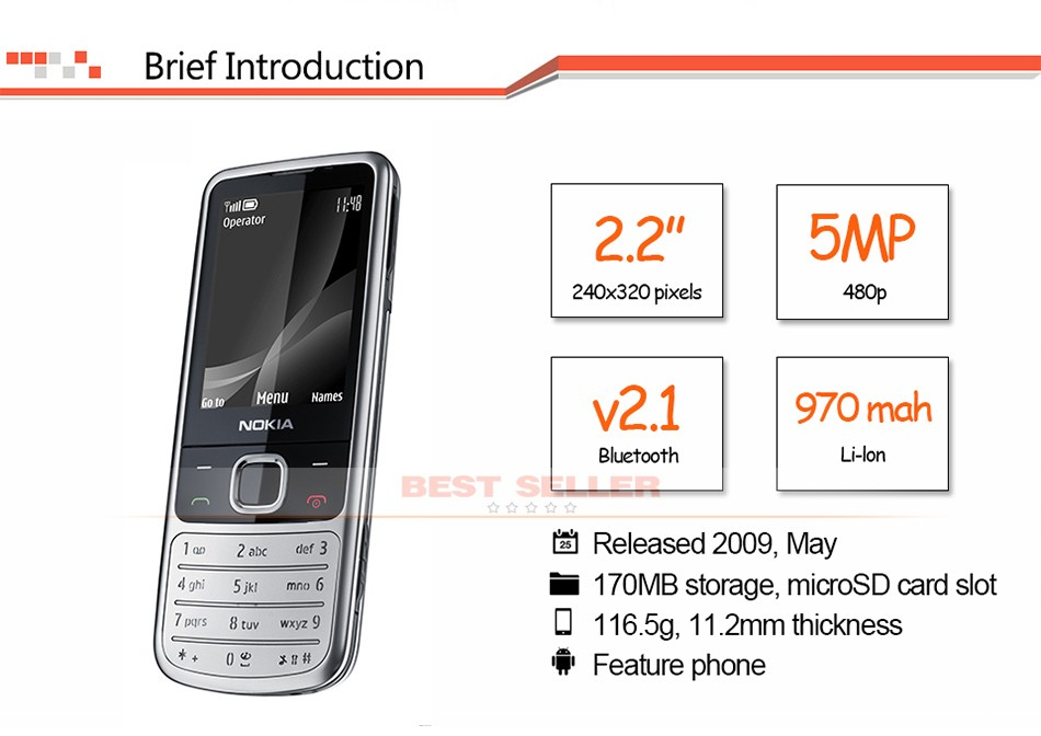 Refurbished phone 6700C Cell Phone Unlocked Nokia 6700 Classic GSM 3G Gps Mobile Phone 5MP Camera gold 3