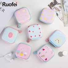 New Cartoon Candy Color Coin PU Purse Key Wallet Earphone Organizer Storage Box Cute Cartoon Money Bag Men and women wallet