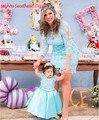 Céu azul Lace curto mãe e filha vestidos com mangas Custom Made jóia barato vestido de festa vestido de 100