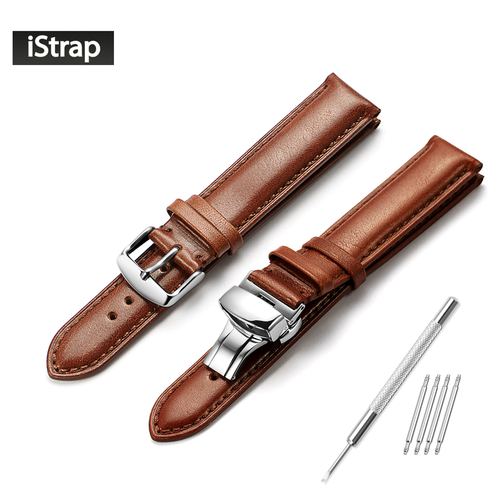 iStrap Watch Strap 18mm 19mm 20mm 21mm 22mm Dark brown Genuine Leather Replacement Watchband Polished Silver Buckle For Tissot genuine leather watchband 20mm black brown replacement leather wristband for garmin vivomove apac strap