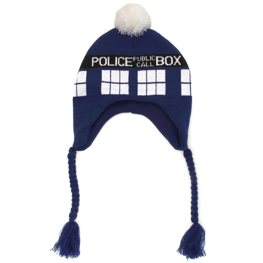 Doctor Who Hat Warm cap TARDIS Bobble Knitted Braided Tassels Police Box Beanie for Gifts Cosplay Props Sports Caps for couples