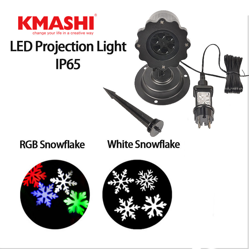 Kmashi Snowflake Lamp Sparkling Landscape Projector Waterproof Decor Spotlights Garden Tree Wall Christmas Holiday Lighting EU