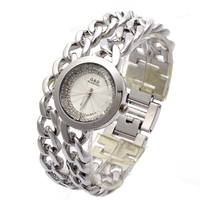 G D Women Double Chain Stainless Steel Band Women S Silver With Rhinestone Luxury Fashion Quartz