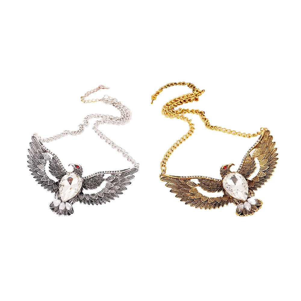 KUNIU レトロ鷲の翼ネックレスペンダント誇張ドロップ宝石の豪華宴会ジュエリーアクセサリーエレガントな女性ヴィンテージ