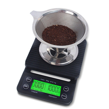 купить 3KG/0.1G Coffee Digital Kitchen Jewelry Scale Multifunctional LCD Display Timer Weighing Electronic Backlight по цене 769.54 рублей