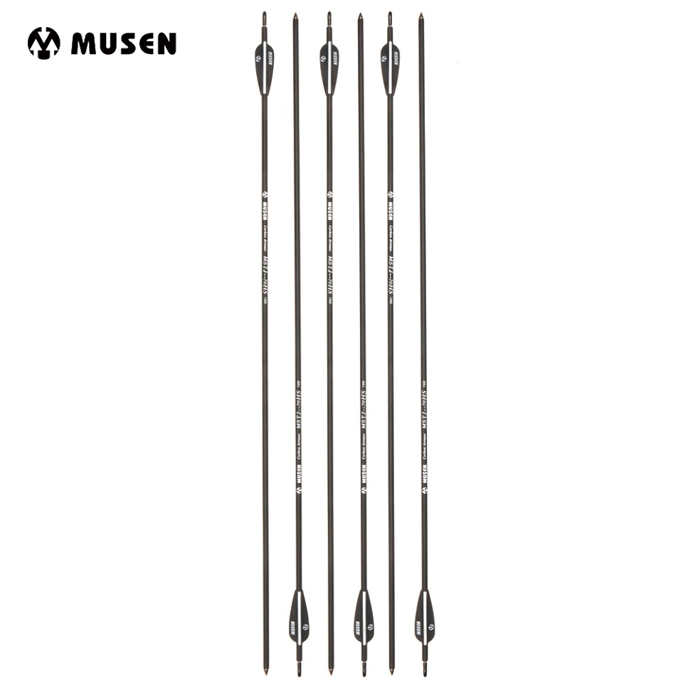6/12/24 pcs 30Inches Carbon Arrow OD 7mm Spine 700 with 2 Black 1 White Plastic Feather for Recurve Bow Archery Hunting Shooting suunto arrow 6