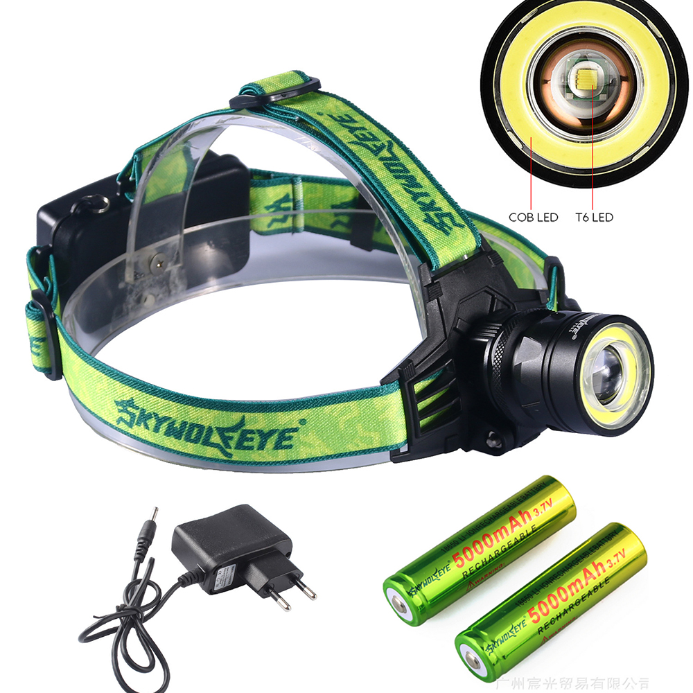 3000LM LED Headlamp 4 Modes Zoomable LED Headlight Camping Head Torch XM-L T6+COB LED Hunting Head Lights+battery charger 10000lumens xm l t6 cob led headlamp head lamp zoomable 4 modes headlight 18650 head flashlight camping hunting lantern