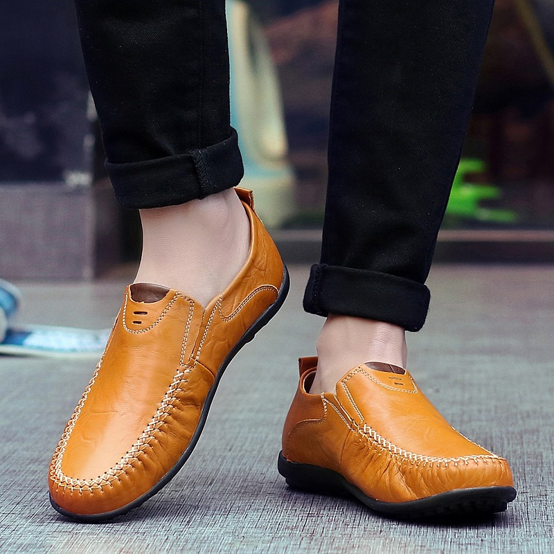New Soft Leather Men Loafers New Handmade Casual Shoes Men Moccasins For Men Comforable Leather Flat Shoes big size 39-47L-0012