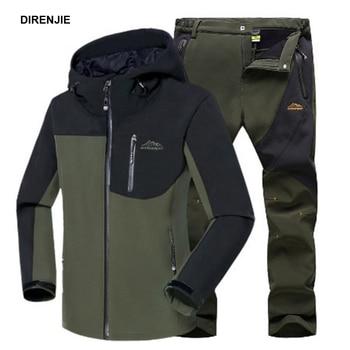 цена Men Winter Waterproof Fish Climb Camp Ski Trekking Hiking Fleece SoftShell Outdoor Jackets Pants Set Hood Trousers 5XL Oversized онлайн в 2017 году