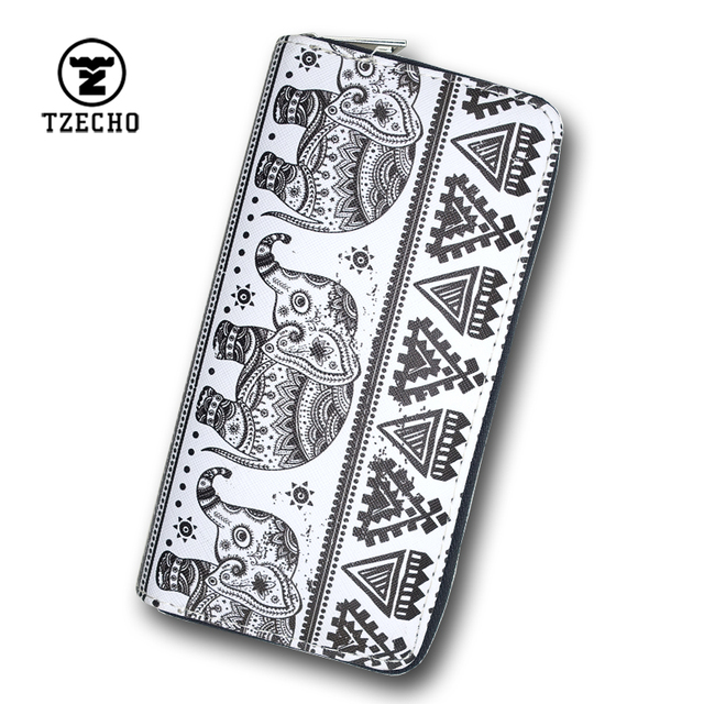 TZECHO Zipper Around Women Clutch Wallets PU Print Animal Elephant Long Female Purse Coin Pocket Credit Card Holder Ladies Bag