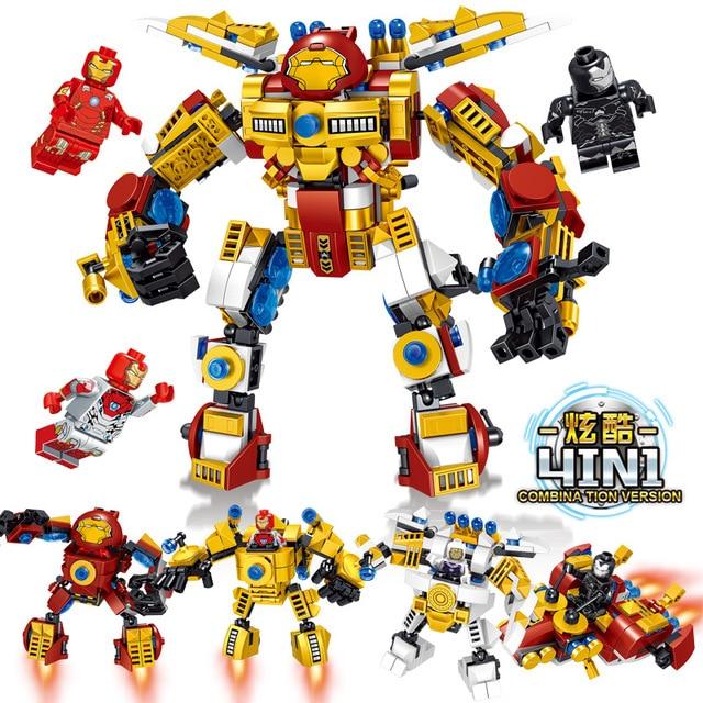 4 pc/lote 4in1 brinquedo das Crianças blocos de construção Compatível city Superhero Anti Hulk marvel Equipamento De Batalha mecânico leve
