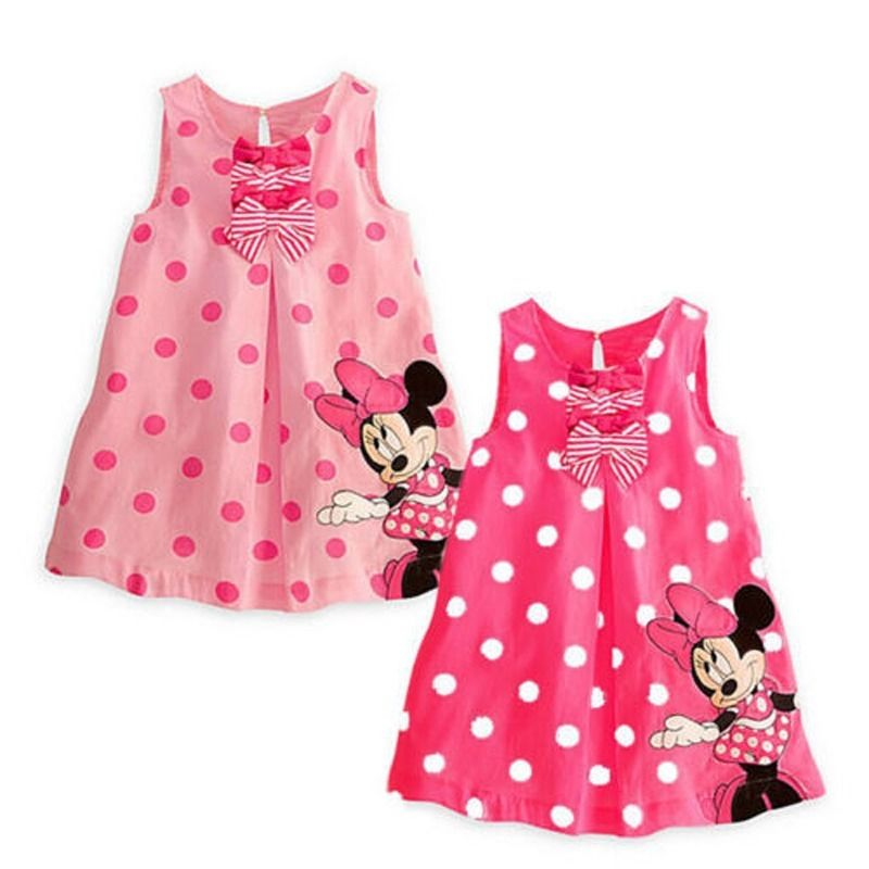 e8ff604a7ed48 Minnie Mouse Sleeveless Casual Party Cotton Shirt Dress 2017 Pink Dot  Summer dress Cute Baby Kids Girls clothes