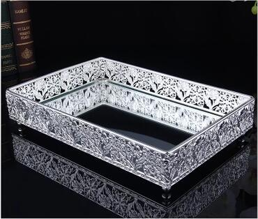 Aliexpress 30 20cm Rectangle Metal Silver Decorative Serving Trays Gl Mirror Tray For Home Decoration Ft035 From