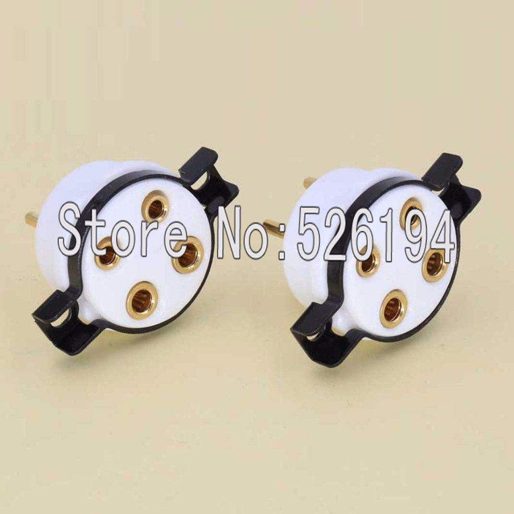 Free shipping 2 pc 4 pin steel Ceramic Machine made gold plated tube socket 300B 2A3 101