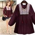 Moda de nova Primavera Outono Estilo Europeu Bordado Camisas Plus Size Solto Casual Blusas Femininas Camisa Blusa Mulheres Tops AE17
