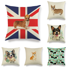 45cm*45cm pet dog corgi design  home decorative pillow covers linen/cotton throw couch cushion cover cojines