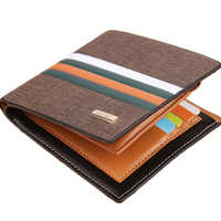 Hot sale Luxury Striped Men's Leather Wallet 3 Folds Male Purse With Photo Holder Credit Card Holder For Man